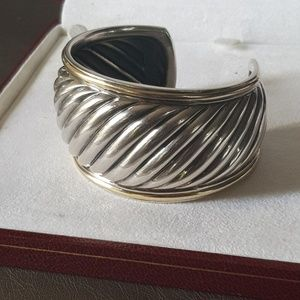David Yurman Wide Sculpted Cuff Bracelet with Gold